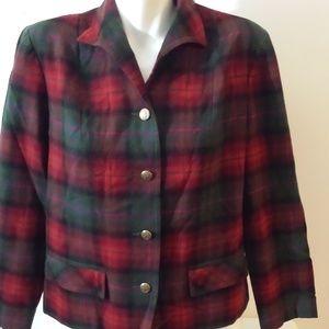 Vintage Pendleton Wool Red Plaid Shirt Jacket 14